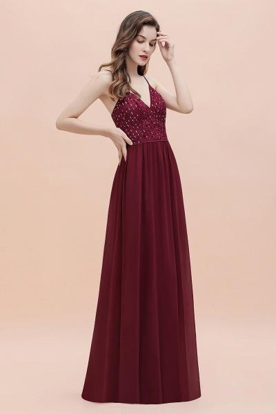 V-Neck Straps A-line Bridesmaid Dress Sequins Evening Dress_4