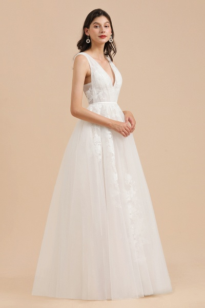Amazing Illusion Lace Tulle A-line Wedding Dress_7