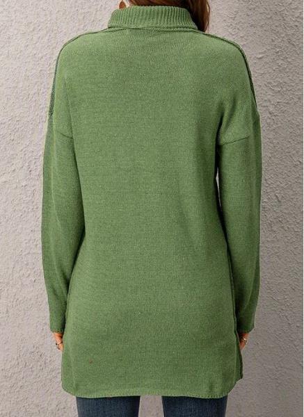 Draped Neckline Solid Casual Loose Long Shift Sweaters_7
