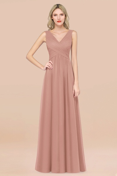 A-Line Chiffon Straps V-Neck Sleeveless Floor-Length Bridesmaid Dress with Ruffles_6