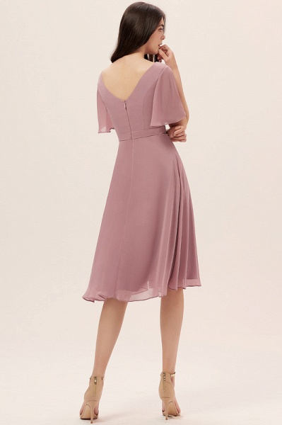 A-Line V-neck Knee-Length Chiffon Cocktail Dress With Split Front_4