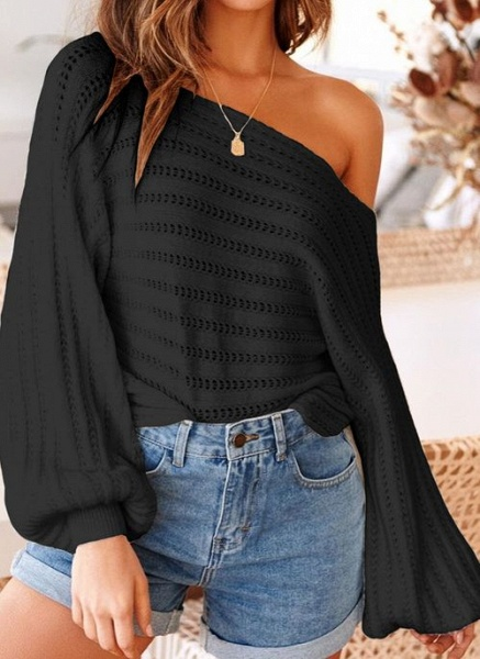 Oblique Neckline Solid Trendy Loose Regular Shift Sweaters_4