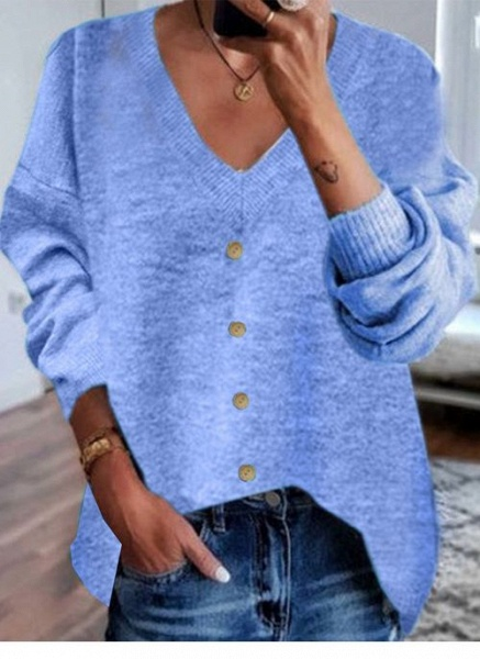 V-Neckline Solid Casual Loose Shift Sweaters_3