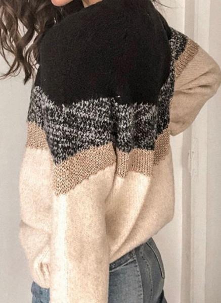 Round Neckline Color Block Casual Loose Regular Shift Sweaters_5