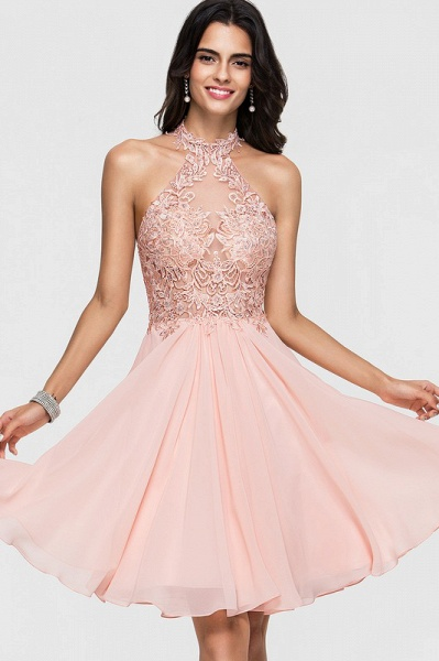 A-Line Halter Knee-Length Chiffon Homecoming Dress With Lace Beading_1