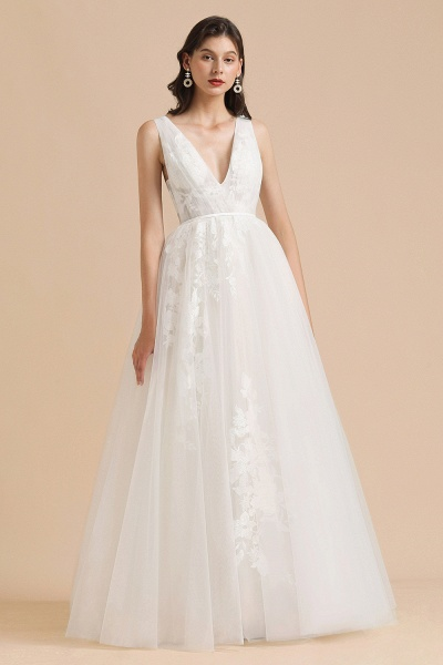 Amazing Illusion Lace Tulle A-line Wedding Dress_2