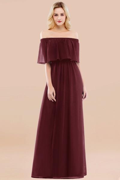 A-line Chiffon Off-the-Shoulder Short-Sleeves Ruffles Floor-length Bridesmaid Dress_10