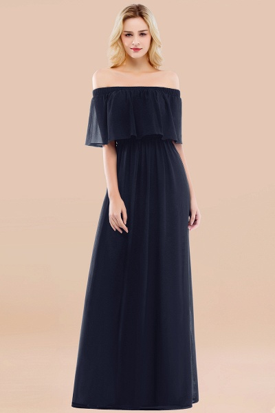 A-line Chiffon Off-the-Shoulder Short-Sleeves Ruffles Floor-length Bridesmaid Dress_28