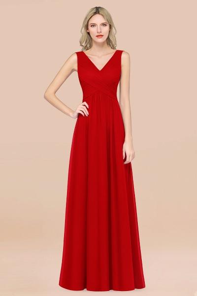 A-Line Chiffon Straps V-Neck Sleeveless Floor-Length Bridesmaid Dress with Ruffles_8