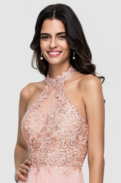 A-Line Halter Knee-Length Chiffon Homecoming Dress With Lace Beading_3