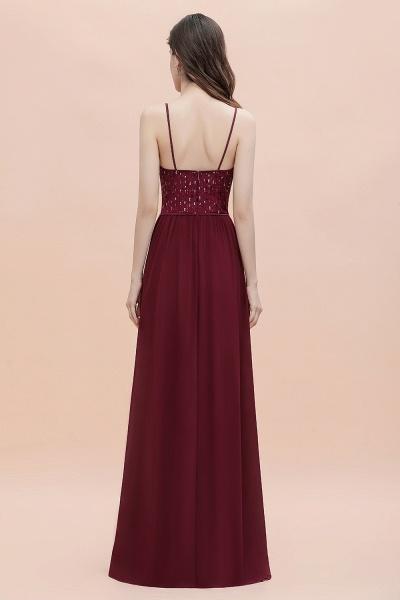 V-Neck Straps A-line Bridesmaid Dress Sequins Evening Dress_5