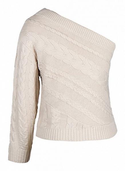 Oblique Neckline Solid Sexy Loose Regular Shift Sweaters_4