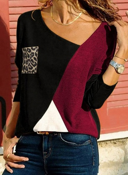 V-Neckline Color Block Casual Loose Regular Pockets Sweaters