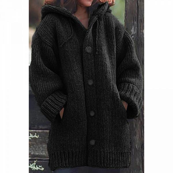 Women Long Cardigan Solid Hooded Sweater_3