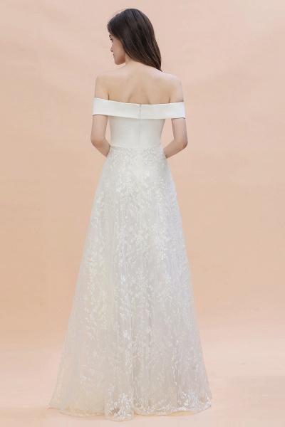 A-Line Off The Shoulder Lace Long Wedding Dress_5
