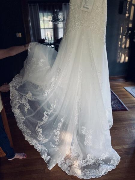 Strapless Tulle Chapel Train Mermaid Wedding Dress_7