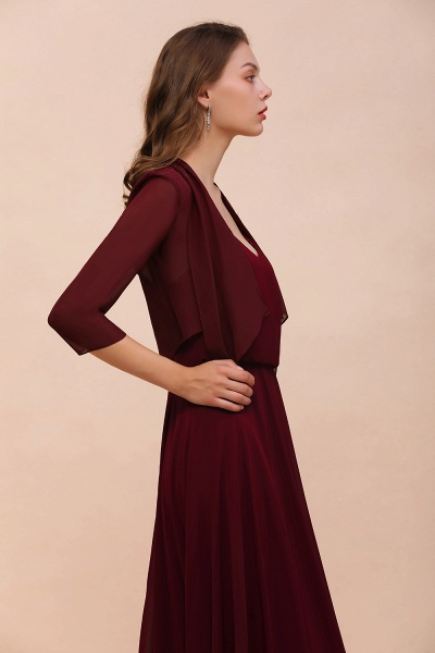 BM1892 Half Sleeves Chiffon Burgundy Special Occasion Wraps_8