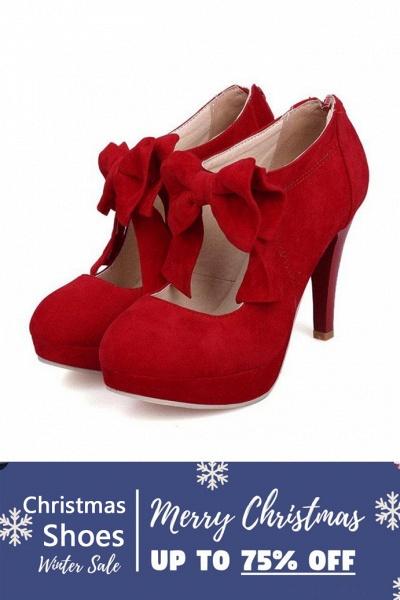 SD1261 Fashion Round Toe Bowtie Hollow Stiletto Heel Boots_1