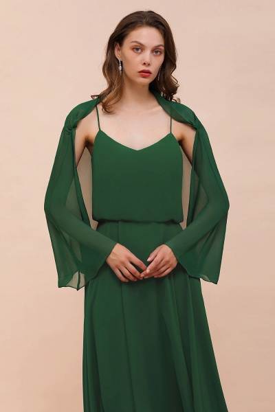 BM1893 Dark Green Long Sleeve Chiffon Special Occasion Wraps_4