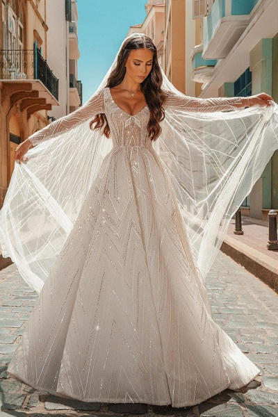Long Sleeve V-neck Crystal Beads Backless Ball Gown Wedding Dresses_3