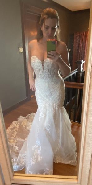 Strapless Tulle Chapel Train Mermaid Wedding Dress_4