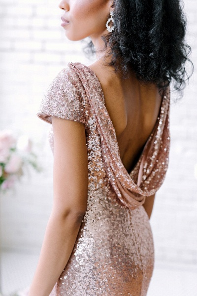Sexy Sequin Bridesmaid Dresses | Rose Gold Long Wedding Guest Dresses_6