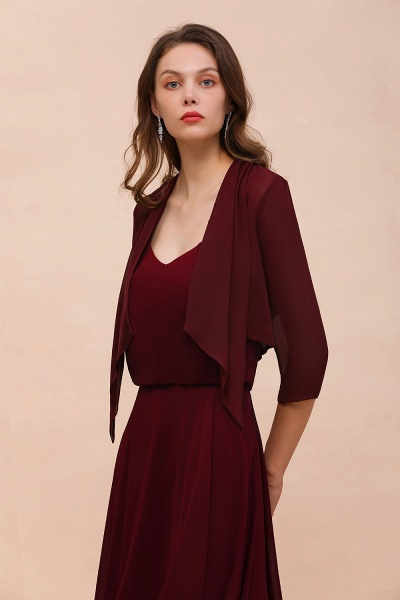 BM1892 Half Sleeves Chiffon Burgundy Special Occasion Wraps_6