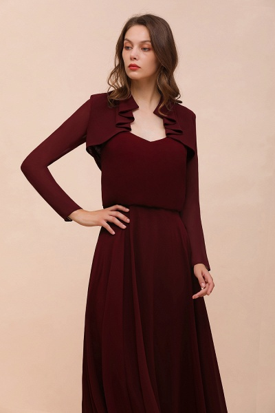 BM1891 Long Sleeves Burgundy Chiffon Wedding Wraps