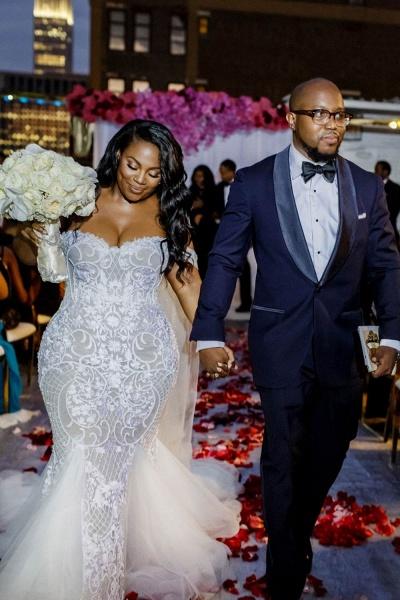 Modest Plus Size Off-the-Shoulder Mermaid Wedding Dresses_3