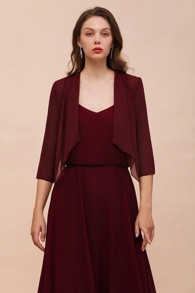BM1892 Half Sleeves Chiffon Burgundy Special Occasion Wraps_3