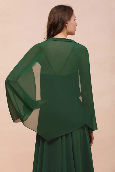 BM1893 Dark Green Long Sleeve Chiffon Special Occasion Wraps_9