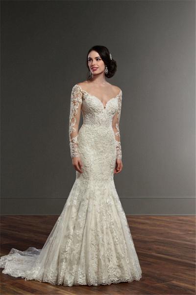 SD1153 Elegant Mermaid  Long Sleeve Lace Appliques Sheer Tulle Wedding Dress_3
