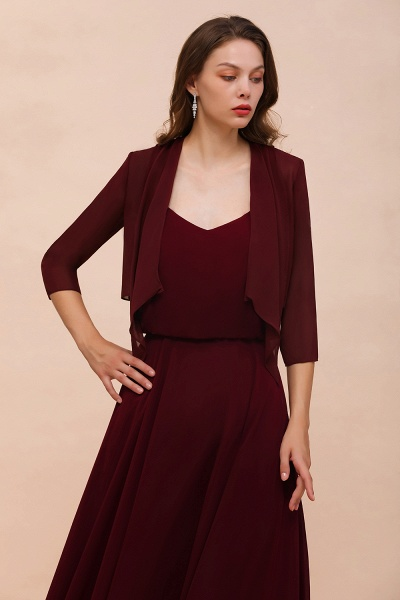 BM1892 Half Sleeves Chiffon Burgundy Special Occasion Wraps_4