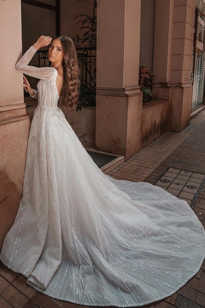 Long Sleeve V-neck Crystal Beads Backless Ball Gown Wedding Dresses_2
