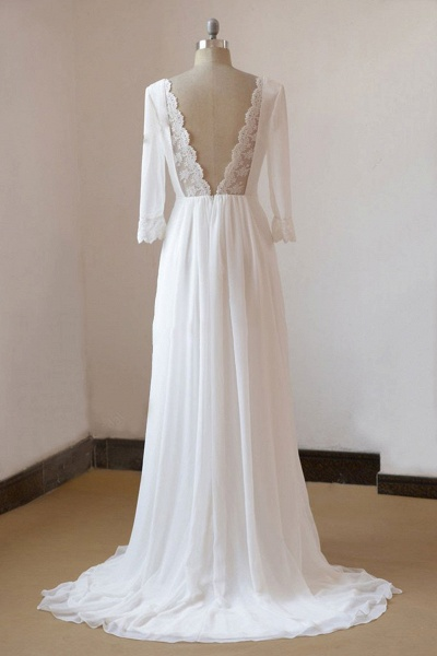 Sexy 3/4 Sleeves and Backless Long Chiffon Beach Wedding Dress_3