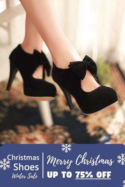 SD1261 Fashion Round Toe Bowtie Hollow Stiletto Heel Boots_3