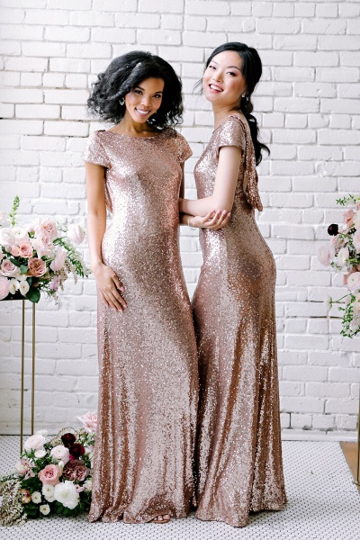 Sexy Sequin Bridesmaid Dresses | Rose Gold Long Wedding Guest Dresses_3