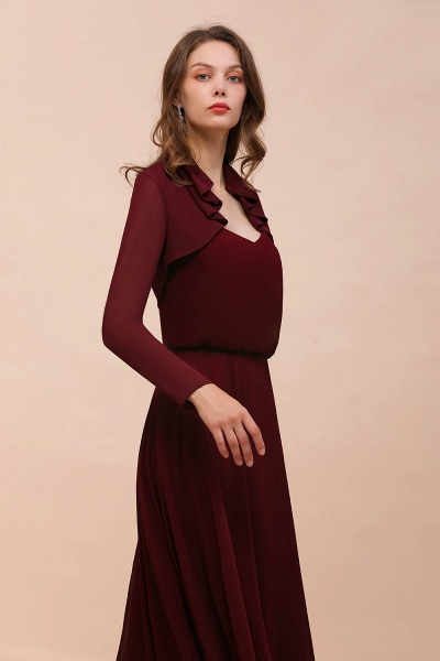 BM1891 Long Sleeves Burgundy Chiffon Wedding Wraps_5