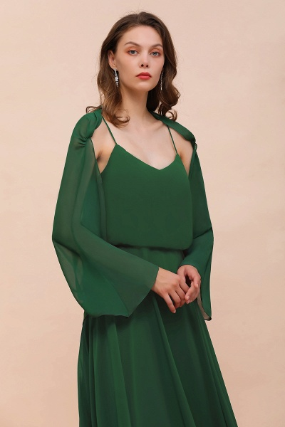 BM1893 Dark Green Long Sleeve Chiffon Special Occasion Wraps
