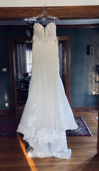 Strapless Tulle Chapel Train Mermaid Wedding Dress_6