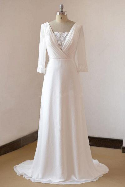 Sexy 3/4 Sleeves and Backless Long Chiffon Beach Wedding Dress_2
