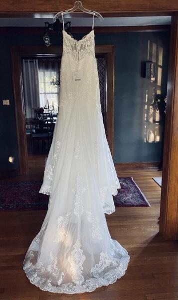 Strapless Tulle Chapel Train Mermaid Wedding Dress_5