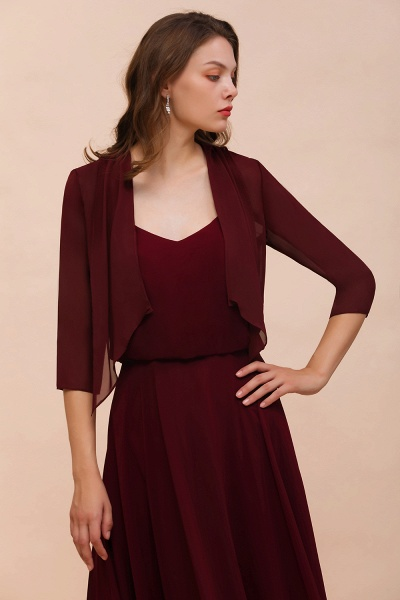 BM1892 Half Sleeves Chiffon Burgundy Special Occasion Wraps_7