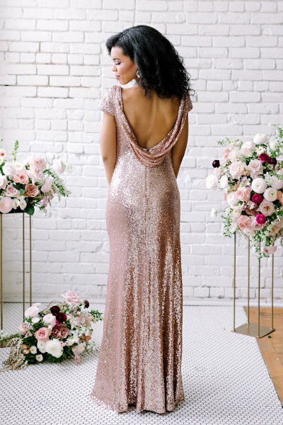 Sexy Sequin Bridesmaid Dresses | Rose Gold Long Wedding Guest Dresses_7