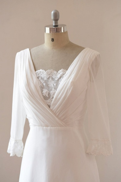Sexy 3/4 Sleeves and Backless Long Chiffon Beach Wedding Dress_4