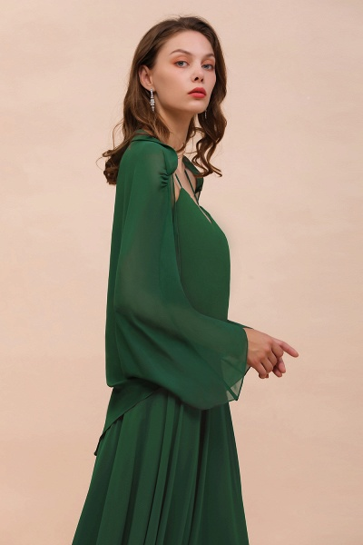 BM1893 Dark Green Long Sleeve Chiffon Special Occasion Wraps_8