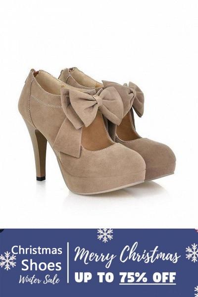 SD1261 Fashion Round Toe Bowtie Hollow Stiletto Heel Boots_2