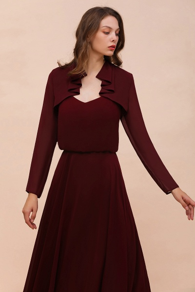 BM1891 Long Sleeves Burgundy Chiffon Wedding Wraps_1