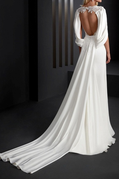 Mermaid \ Trumpet Wedding Dresses V Neck Sweep \ Brush Train Stretch Satin Sleeveless Country Plus Size_4