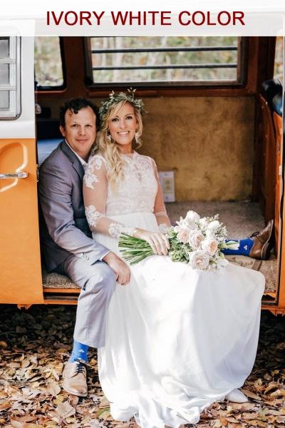 Long Sleeve Appliques Chiffon A-line Wedding Dress_2